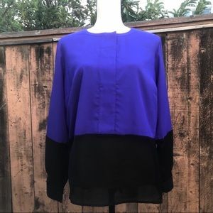 Eloquii Color Block Sheer Popover Blouse Size 14